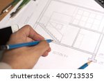 architectural drawing and... | Shutterstock . vector #400713535