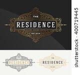 vintage flourish frame logo... | Shutterstock .eps vector #400719445