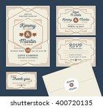 art deco letterpress wedding... | Shutterstock .eps vector #400720135