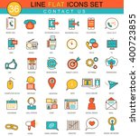 vector contact us flat line... | Shutterstock .eps vector #400723855
