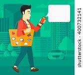 man walking with smartphone.   Shutterstock .eps vector #400732141