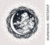 intricate hand drawn ornate... | Shutterstock .eps vector #400733419