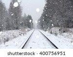 Rail Landscape. Snowing