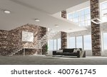 loft apartment living room with ... | Shutterstock . vector #400761745