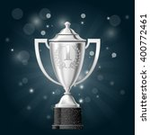 silver cup with laurels   first ... | Shutterstock .eps vector #400772461
