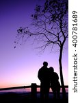 silhouettes of a peple see view   Shutterstock . vector #400781689