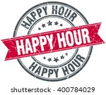 happy hour red round grunge... | Shutterstock .eps vector #400784029