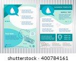 blood icon on vector brochure.... | Shutterstock .eps vector #400784161