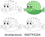 funny cartoon green pufferfish. ... | Shutterstock .eps vector #400795204