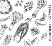 vector vegetable hand drawn... | Shutterstock .eps vector #400795651
