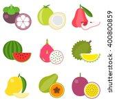 fruit icons set 2  tropical... | Shutterstock .eps vector #400800859