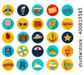 summer holiday flat icons with...   Shutterstock .eps vector #400819585