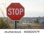 stop sign against a blue sky | Shutterstock . vector #400820479