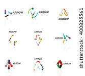 set of linear arrow abstract... | Shutterstock .eps vector #400825561
