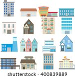 set of buildings  flat design | Shutterstock .eps vector #400839889