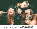 crazy friends taking selfie in... | Shutterstock . vector #400844101