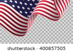 american flag on transparent... | Shutterstock .eps vector #400857505