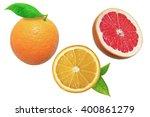 Orange And Grapefruit On White...