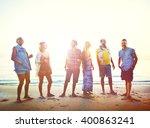 diverse beach summer friends... | Shutterstock . vector #400863241