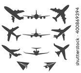 black plane pictograms on white ... | Shutterstock .eps vector #400869394