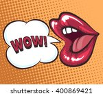 mouth with speach bubble. wow... | Shutterstock .eps vector #400869421