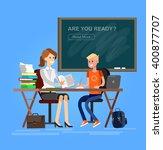 woman teacher tutor tutoring... | Shutterstock .eps vector #400877707