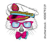 cute raccoon in the captain's... | Shutterstock .eps vector #400879219