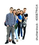 group of students standing in a ... | Shutterstock . vector #400879414