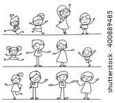 set of hand drawing cartoon... | Shutterstock .eps vector #400889485