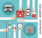 medical service flat background ... | Shutterstock .eps vector #400891201
