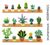 set of cactuses and succulents... | Shutterstock .eps vector #400894021
