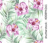 seamless pattern with tropical... | Shutterstock . vector #400894261