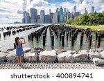 New York Tourist Woman Taking...