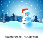 a snowman wearing a red hat on... | Shutterstock . vector #40089508