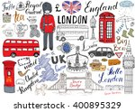 london city doodles elements... | Shutterstock .eps vector #400895329