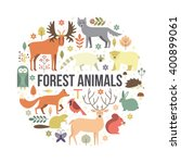collection of forest animals... | Shutterstock .eps vector #400899061