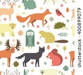 pattern with forest animals mae ... | Shutterstock .eps vector #400899079