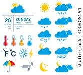 set of icons meteorology ... | Shutterstock .eps vector #400903591