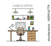 cubicle office with furniture... | Shutterstock .eps vector #400916779