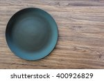 top view of empty plate on... | Shutterstock . vector #400926829