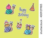 funny birthday stickers with... | Shutterstock .eps vector #400929985
