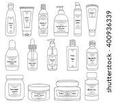 doodle cosmetic packs set.... | Shutterstock .eps vector #400936339