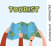 couple tourist reading map ...