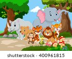 wild animal cartoon in a... | Shutterstock .eps vector #400961815