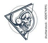 dead astronaut in spacesuit and ...   Shutterstock .eps vector #400974991
