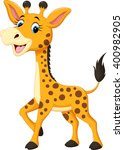 cute giraffe cartoon  | Shutterstock .eps vector #400982905