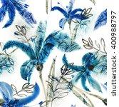lilies seamless pattern | Shutterstock . vector #400988797