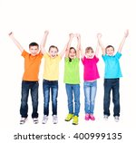 group of smiling kids with... | Shutterstock . vector #400999135