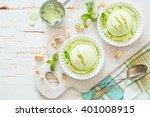 Stock photo pistachio ice cream in white bowl 401008915