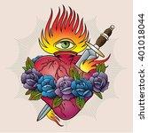 flaming heart  tattoo | Shutterstock .eps vector #401018044